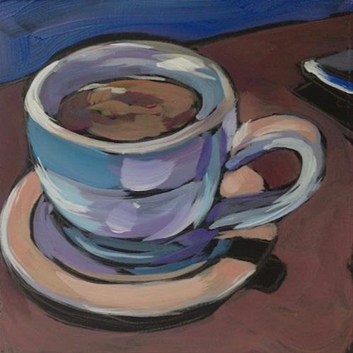 """Coffee at Cafe Maude, Third Cup"" original fine art by Kat Corrigan"