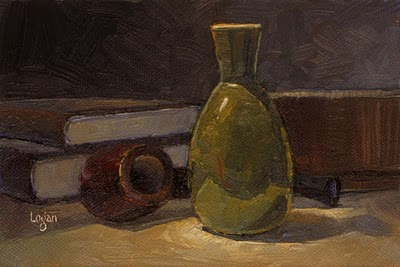 """Green Vase and Pipe"" original fine art by Raymond Logan"