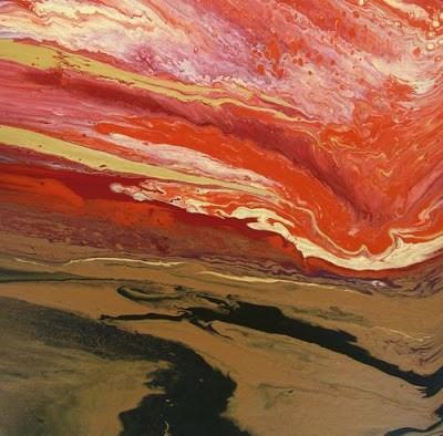 """Contemporary Landscape Stormy Sky Art Painting Subsiding by Colorado Contemporary Artist Kimberly"" original fine art by Kimberly Conrad"