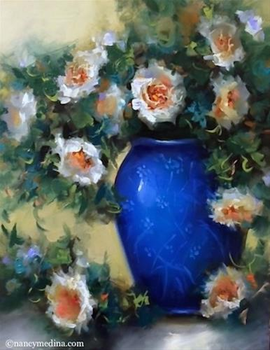 """Nodding Off White Roses - Flower Paintings by Nancy Medina"" original fine art by Nancy Medina"