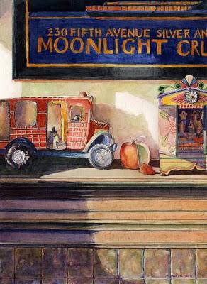 """Watercolor: Moonlight Cruise"" original fine art by Belinda Del Pesco"