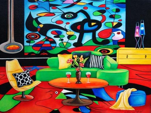 """""""Romancing Miro, Painting Inspired by Miro by k Madison Moore"""" original fine art by K. Madison Moore"""