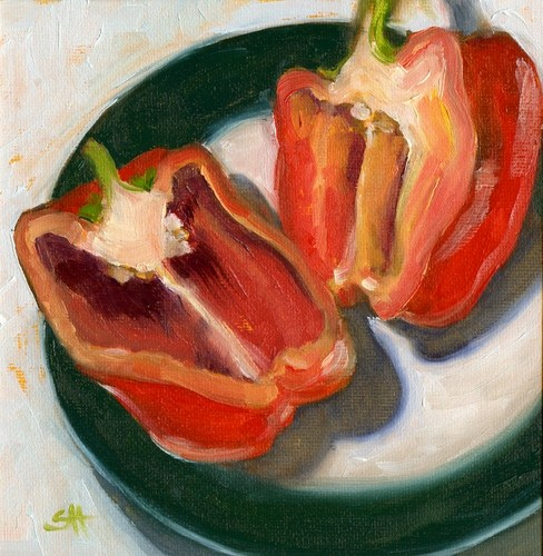 """cut red pepper"" original fine art by Sandy Haynes"