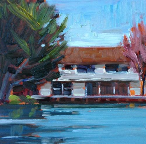 """Painting on the Lagoon in Belvedere"" original fine art by Deborah Newman"