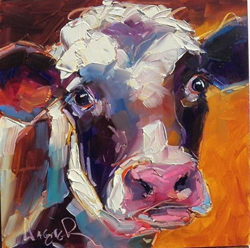 """""""CONTEMPORARY COW IN OILS by OLGA WAGNER"""" original fine art by Olga Wagner"""