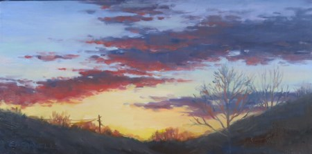 """'Winter Sunset' An Original Oil Painting by Claire Beadon Carnell"" original fine art by Claire Beadon Carnell"