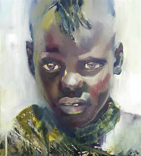 """Little warrior"" original fine art by Rentia Coetzee"