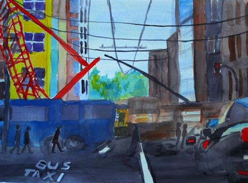 """Red Crane"" original fine art by Donna Crosby"