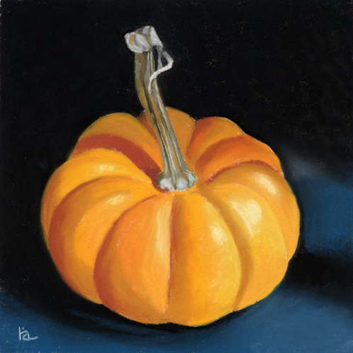 """tiny pumpkin"" original fine art by Ria Hills"