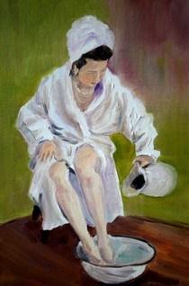 """Lady Bathing Challenge"" original fine art by Maggie Flatley"