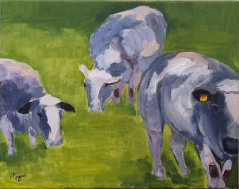 """Belgian Cows II"" original fine art by Karen D'angeac Mihm"