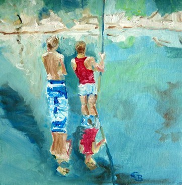 """fishing"" original fine art by Claudia Brandt"