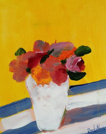 """Flowers with yellow and stripes"" original fine art by Pamela Munger"