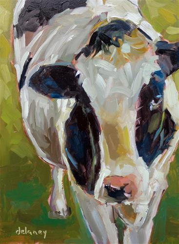 """Cow 90 WATCHFUL EYE"" original fine art by Jean Delaney"