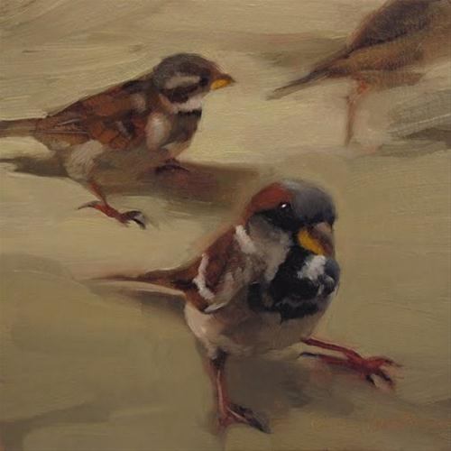 """The Brief Survey painting of sparrows"" original fine art by Diane Hoeptner"