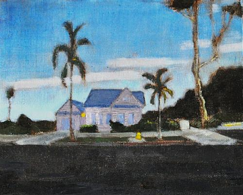 """Victorian Cottage at Dusk"" original fine art by Kevin Inman"