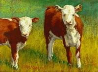 """New fascination - miniature cow portraits!"" original fine art by Rita Kirkman"