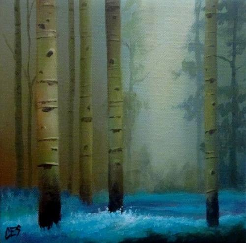 """Birch and Bluebells"" original fine art by ~ces~ Christine E. S. Code"