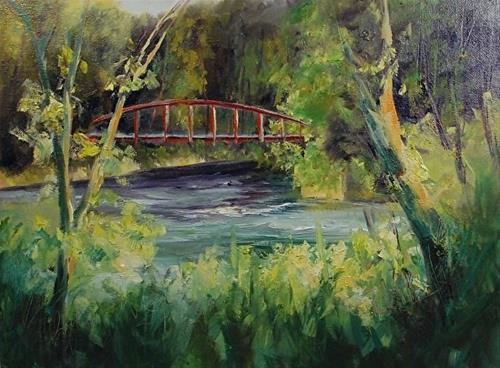 """Lock 29, 9 x 12 Oil, Landscape"" original fine art by Donna Pierce-Clark"