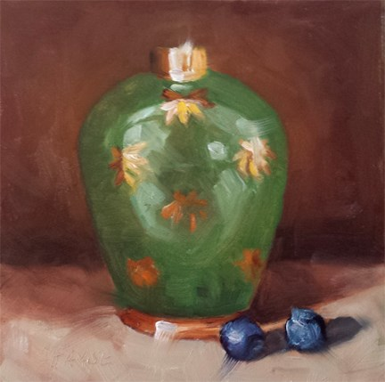 """Green Jar"" original fine art by Cindy Haase"