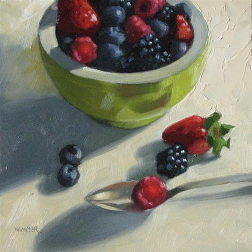 """A berry good breakfast 6x6 oil"" original fine art by Claudia Hammer"