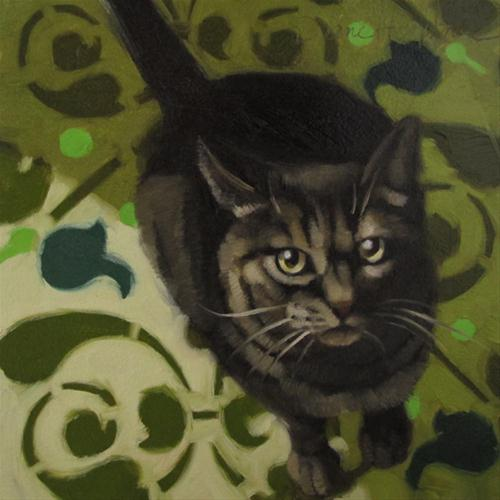 """Hungry Cat oil painting of brown striped feline"" original fine art by Diane Hoeptner"