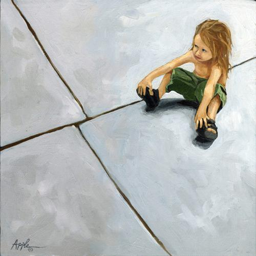 """The Sidewalk - Little girl figurative oil painting"" original fine art by Linda Apple"