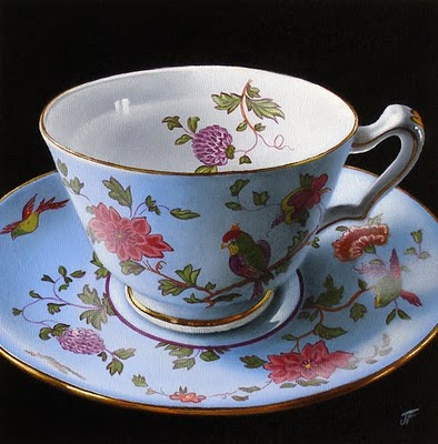 """Teacup Study:  My Mother's Collection II"" original fine art by Jelaine Faunce"