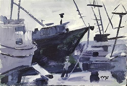 """Shipyard at Night"" original fine art by Mechele Flowers"