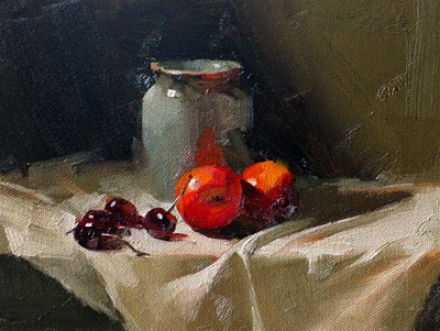 """Cherries and Nectarines --- Sold"" original fine art by Qiang Huang"