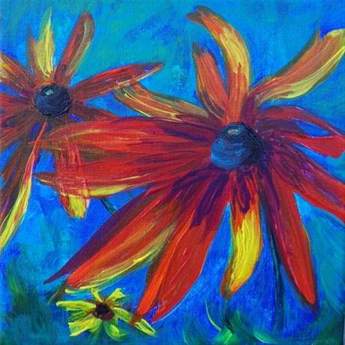 """1038 - Dancing Daisies - Miniature Masterpiece Series"" original fine art by Sea Dean"