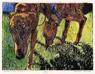"""Linocut: Got Any More Cookies?"" original fine art by Belinda Del Pesco"