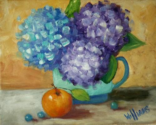 """Hydrangeas with orange"" original fine art by Sunny Williams"