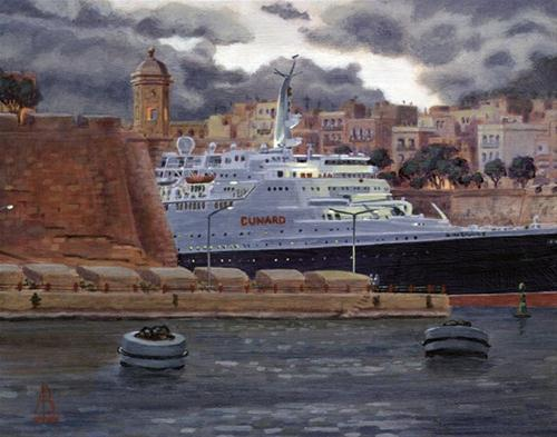 """QE2: Final farewell to Malta, Nov 2008"" original fine art by Alix Baker"