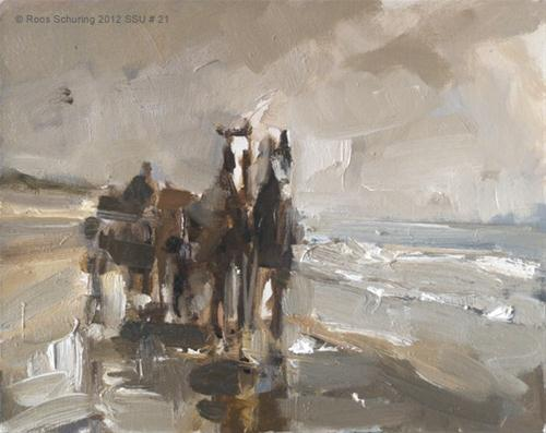 """Seascape summer # 11 Horse carriage"" original fine art by Roos Schuring"