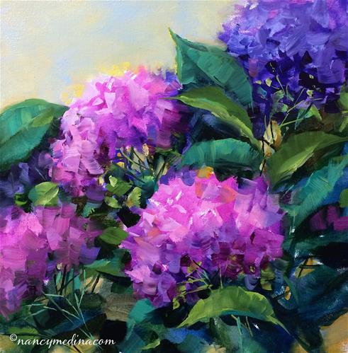 """Meet the Artist Tonight - White Hydrangea Color Burst - Flower Paintings by Nancy Medina"" original fine art by Nancy Medina"