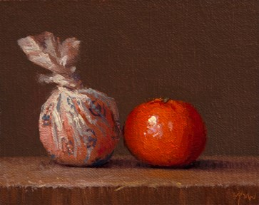 """Wrapped Tangerine and Tangerine (Yin & Yang) - 24-hour auction"" original fine art by Abbey Ryan"