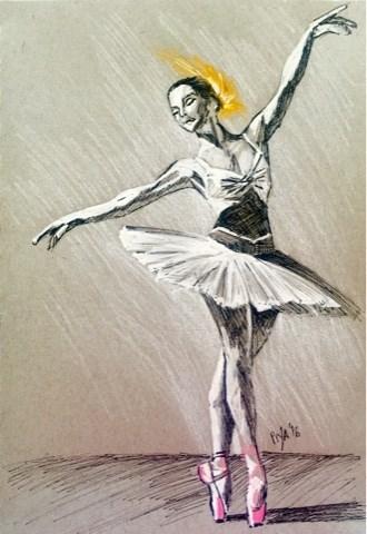 """Yellow Feather Ballerina"" original fine art by Piya Samant"