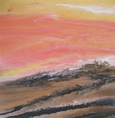 """Contemporary Abstract Seascape Painting Golden Hour by International Contemporary Landscape Artist"" original fine art by Kimberly Conrad"