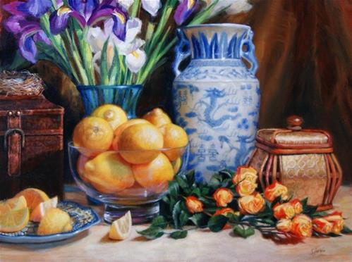 """Lemons and Roses"" original fine art by Susan N Jarvis"