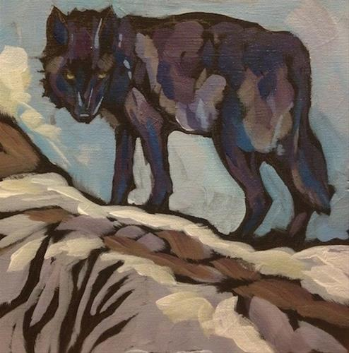 """Black Wolf Standing"" original fine art by Kat Corrigan"