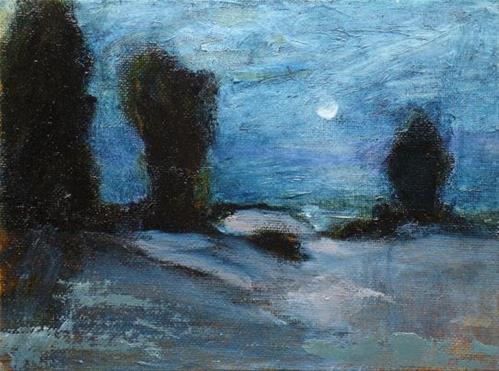 """Moonset"" original fine art by Susan Hammer"