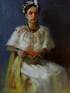 """Mexican girl"" original fine art by Fongwei Liu"