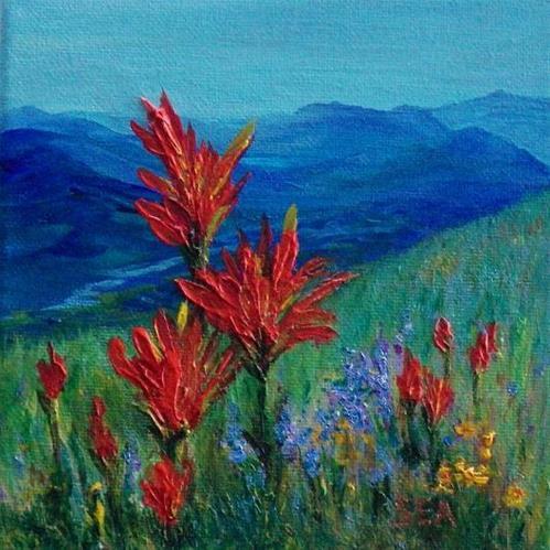 """""""2005 - Alpine Meadow - Miniature Masterpiece"""" original fine art by Sea Dean"""