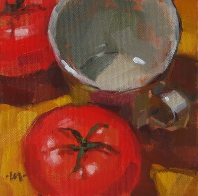 """A Cup'a Tomatoes"" original fine art by Carol Marine"