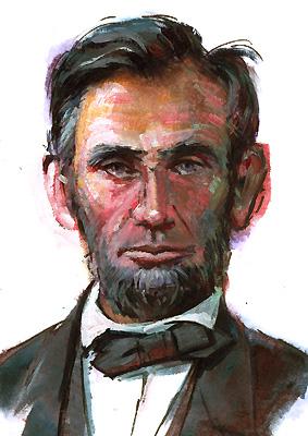 """Modern Abe"" original fine art by Lesley Spanos"