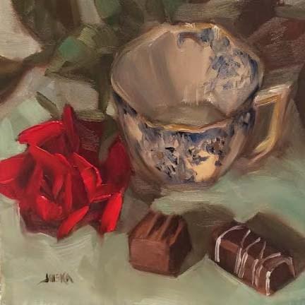 """Rose and Bon Bons"" original fine art by Elaine Juska Joseph"