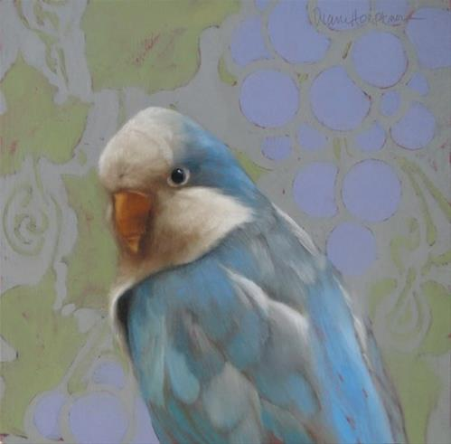 """Getting to Know You, painting of a Blue Quaker"" original fine art by Diane Hoeptner"