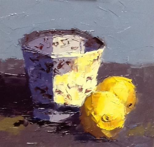 """Lemons and cup"" original fine art by Elaine Ford"
