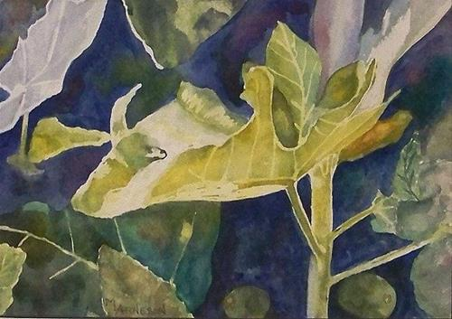 """Contemporary Watercolor Art Painting Leaves by Mary Arneson Art-Works of Whimsy"" original fine art by Mary Arneson"